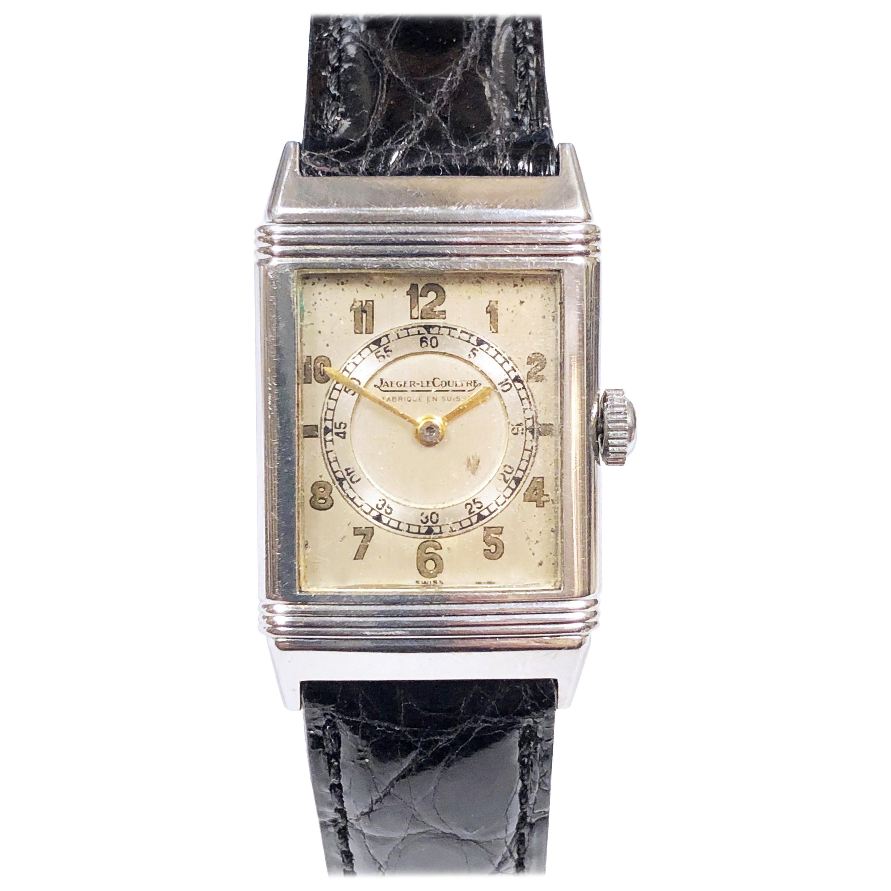 1930s Jaeger Le-Coultre Steel Reverso Mechanical Wristwatch