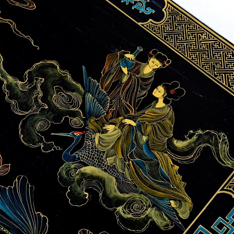 1930s James Mont Style Black Lacquer Gilt Asian Modern Chinoiserie Coffee Table For Sale 2
