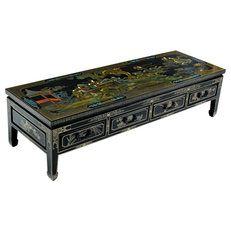 1930s James Mont Style Black Lacquer Gilt Asian Modern Chinoiserie Coffee Table For Sale