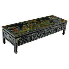 1930s James Mont Style Black Lacquer Gilt Asian Modern Chinoiserie Coffee Table