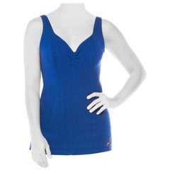 1930S JANTZEN Cobalt Blue Wool Knit One Piece Swimsuit