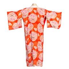 1930s Japanese Floral Silk Kimono