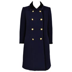 1930's Jeanne Lanvin Haute Couture Navy Blue Coat Numbered 80389