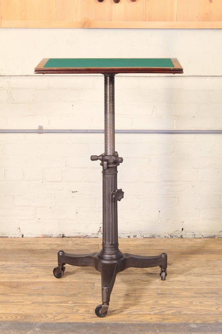rolling pedestal table 1930s  u0026quot karlo u0026quot  typewriter display side end cast iron at 1stdibs