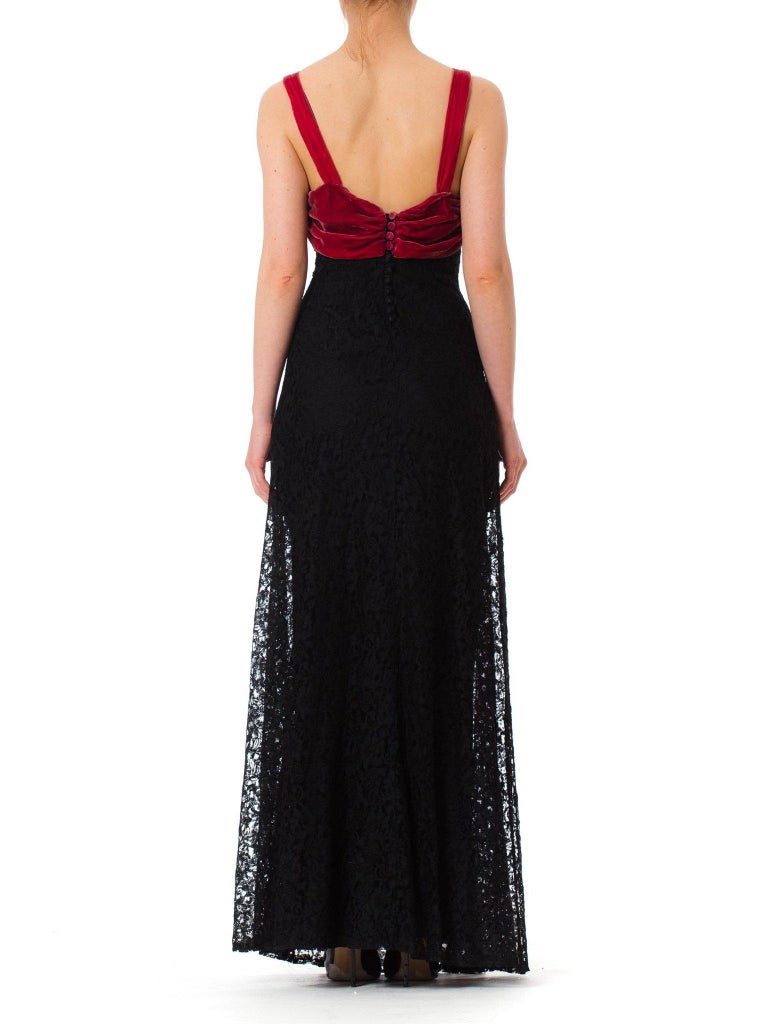 Women's 1930S Black Rayon Lace Bias Cut Gown With Raspberry Velvet Trim For Sale