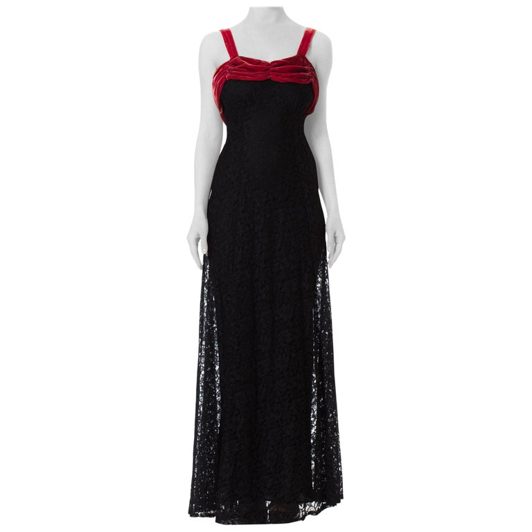 1930S Black Rayon Lace Bias Cut Gown With Raspberry Velvet Trim For Sale
