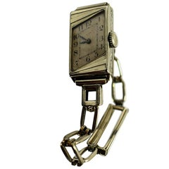 1930s Ladies Art Deco 14 Karat Gold Filled Wristwatch by Elgin
