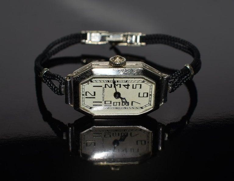 North American 1930s Ladies Art Deco Enamel Waltham Wristwatch For Sale