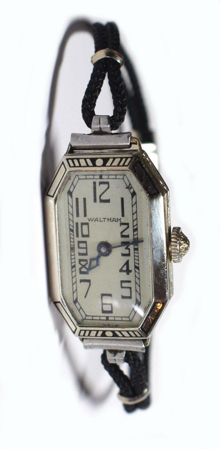 20th Century 1930s Ladies Art Deco Enamel Waltham Wristwatch For Sale