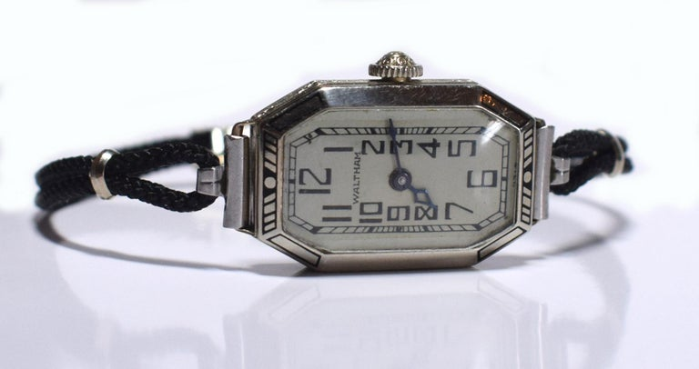 Gold 1930s Ladies Art Deco Enamel Waltham Wristwatch For Sale