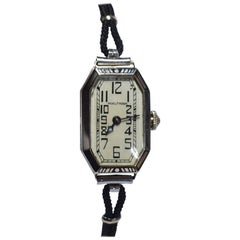 1930s Ladies Art Deco Enamel Waltham Wristwatch