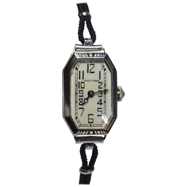 1930s Ladies Art Deco Enamel Waltham Wristwatch For Sale
