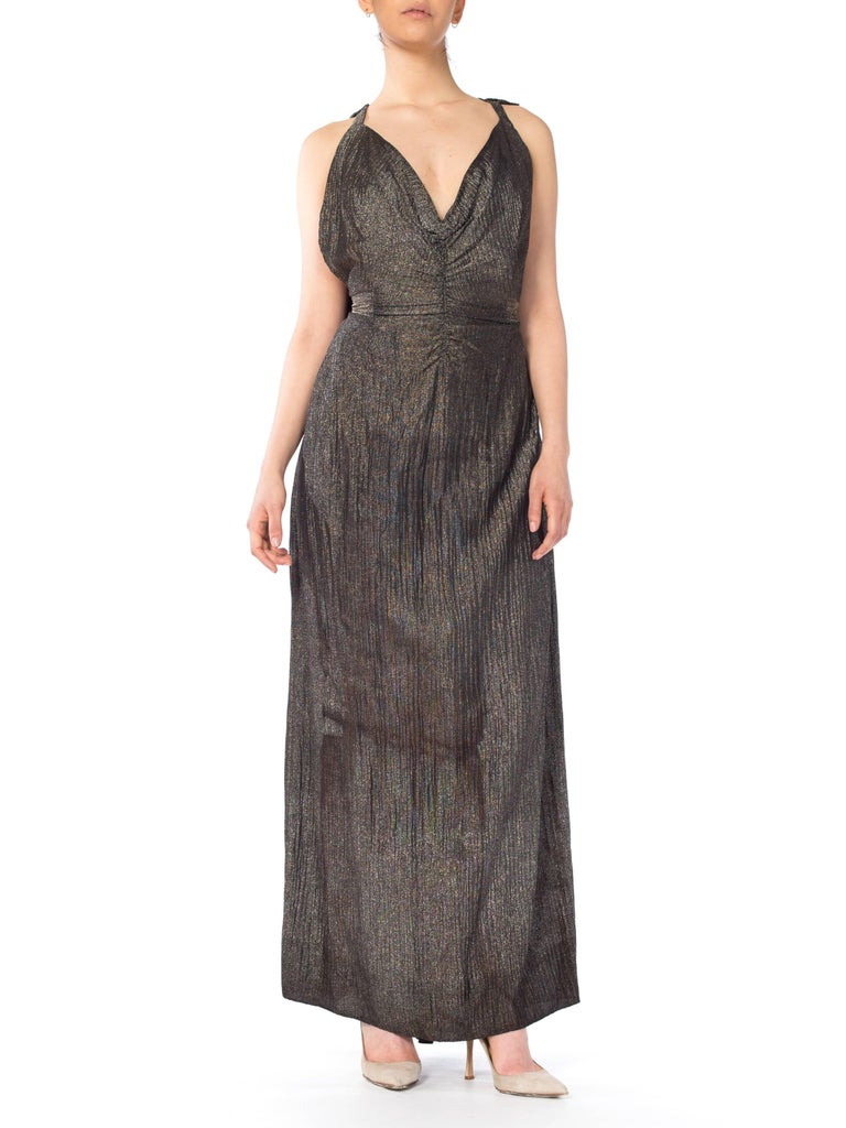 1930s Lamé Gown With Low Back and Caped Train For Sale at 1stdibs