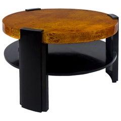 1930s Large Art Deco Coffee Table, Waxed Solid Wood, Poplar Veneer, Barcelona