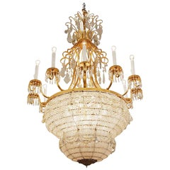 1930s Large Scale Palace Theater 12-Arm Crystal Basket Chandelier with 30 Lights