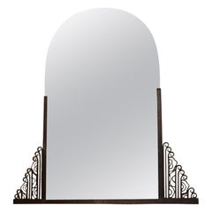 1930s Large Wrought Iron Mirror with Flower Decor