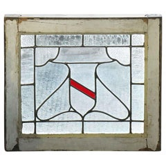 1930s Leaded Glass Window with Center Shield