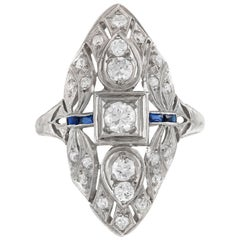 1930s Dinner Filigree Ring in Leaf Setting with Diamonds and Sapphires