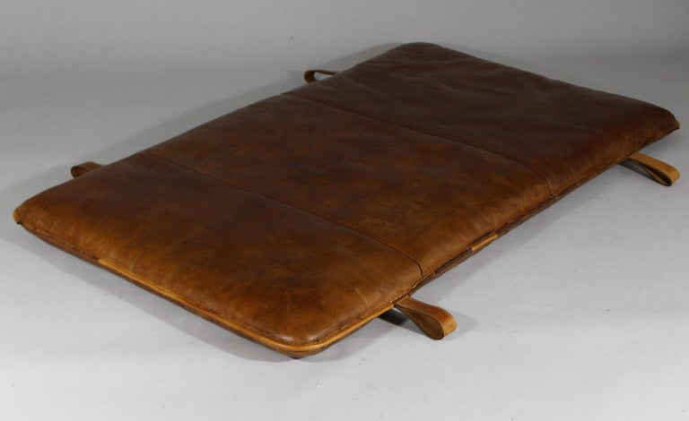Leather gym mat from the 1930s. It has been made from a thick leather, good condition with patina.