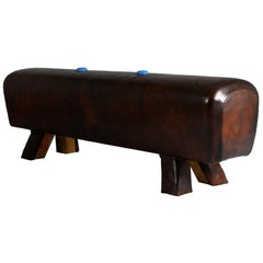 1930s Leather Gym Pommel Horse Bench