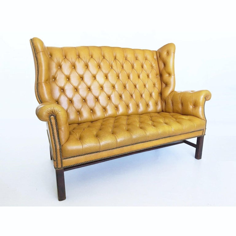 Chesterfield 1930s Leather Tufted Wing Back Settee For Sale