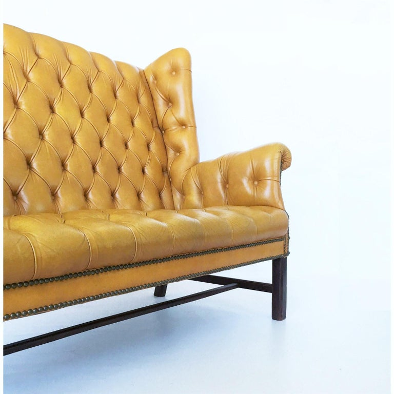 British 1930s Leather Tufted Wing Back Settee For Sale