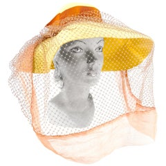 1930s Lemon Yellow Afternoon Hat with Full Veil