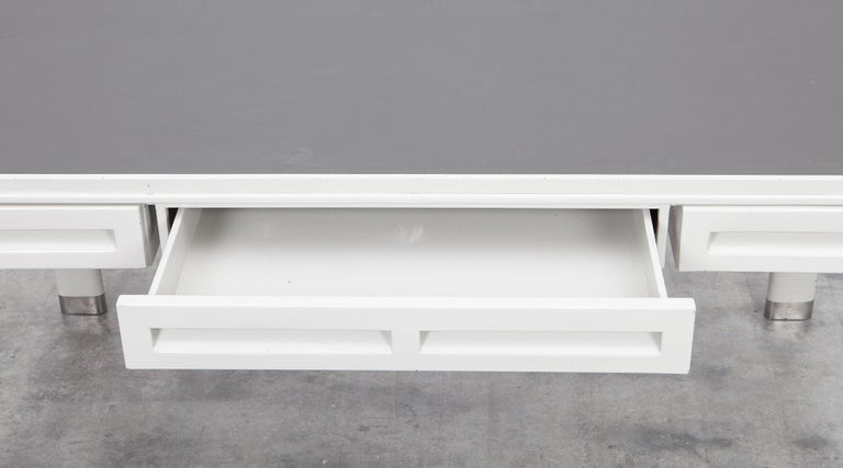 1930s Light Grey Steel Desk by Jean Prouvé For Sale 4