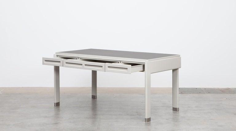 Mid-Century Modern 1930s Light Grey Steel Desk by Jean Prouvé For Sale