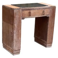 1930s Limed Oak Deco Writing Desk