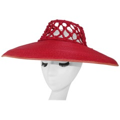 1930's Lipstick Red Wide Brim Straw Hat With Cage Crown