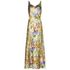 1930s Liquid Gold Satin Floral Print Bias Cut Dress