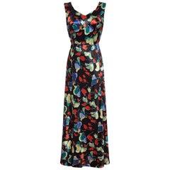 1930s Liquid Satin Floral Pattern Bias Cut Dress