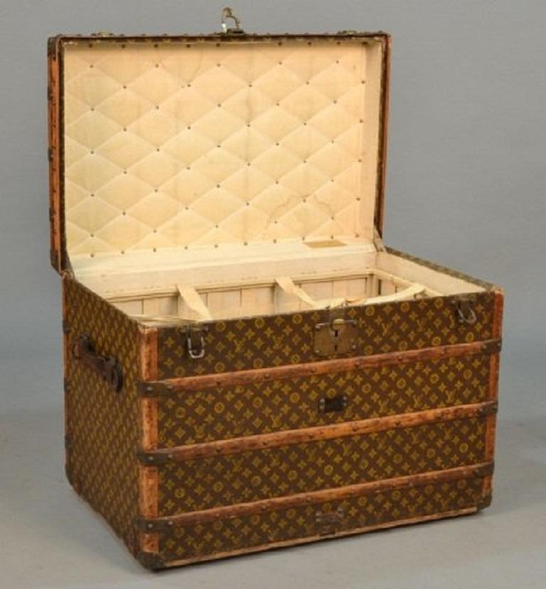 1930s Louis Vuitton monogram steamer trunk. The exterior of the trunk has the classic LV monogram, wood and leather trimming with solid brass hardware. Interior is lined with it's original fabric and fitted with a basket.