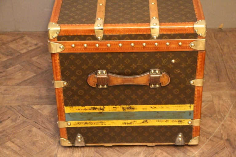 1930s Louis Vuitton Monogram Steamer Trunk, Malle Louis Vuitton For Sale 4