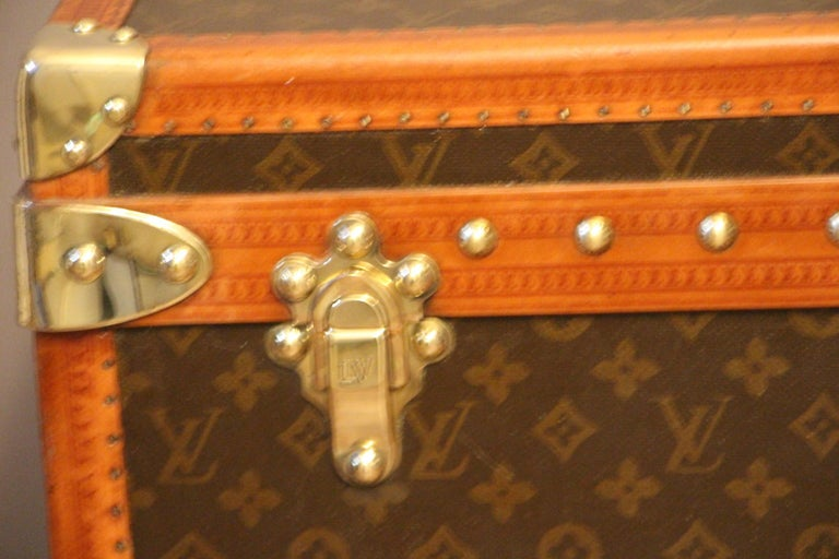 French 1930s Louis Vuitton Monogram Steamer Trunk, Malle Louis Vuitton For Sale