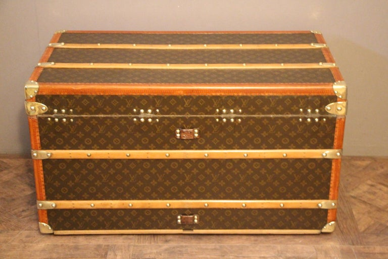 1930s Louis Vuitton Monogram Steamer Trunk, Malle Louis Vuitton For Sale 3