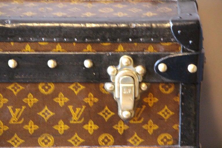 Brass 1930s Louis Vuitton Stenciled Monogram Cabin Steamer Trunk, Louis Vuitton Trunk For Sale