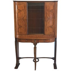 1930s Louis XV Style Inlaid and Lacquered Curio Cabinet