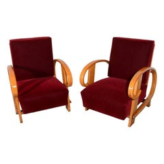 1930s Lounge Chairs in Red Dongiha Mohair