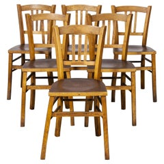 1930's Luterma Embossed Seat Bentwood Dining Chair, Set of Six