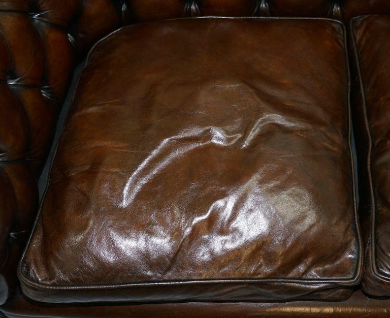 1930s Made in England Hand Dyed Restored Cigar Brown 2-Seat Chesterfield Club For Sale 4