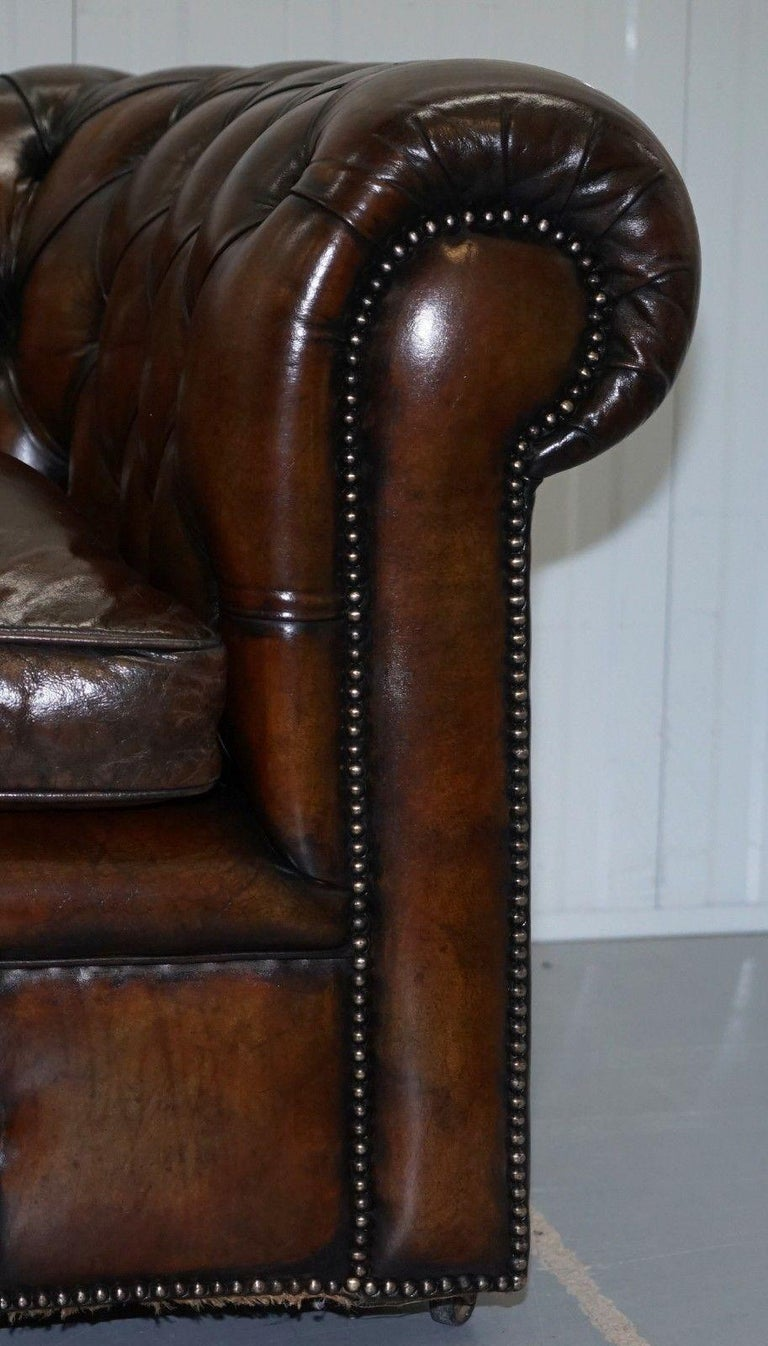 Mid-20th Century 1930s Made in England Hand Dyed Restored Cigar Brown 2-Seat Chesterfield Club For Sale
