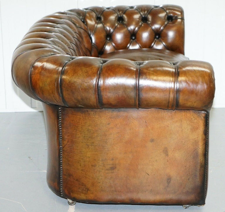 Leather 1930s Made in England Hand Dyed Restored Cigar Brown 2-Seat Chesterfield Club For Sale