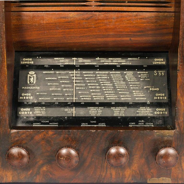 Italian 1930s Magnadyne Art Deco Tube Radio, Empire Style, Working, All Original Parts For Sale