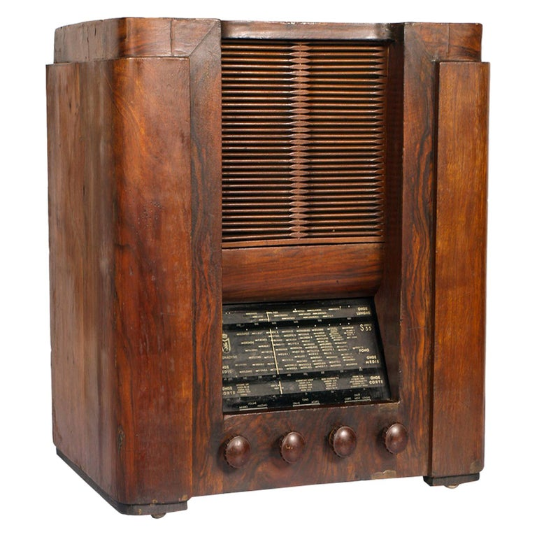 1930s Magnadyne Art Deco Tube Radio, Empire Style, Working, All Original Parts For Sale