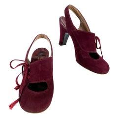 1930s Maroon Suede Sling-back Heels