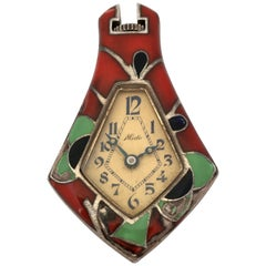 1930s Mechanical Silver and Enamel Mido Vintage Pendant Watch