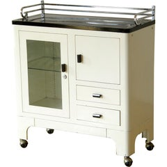 1930s Medical Storage Cabinet White Black Enamel Steel Glass Door Chrome Trim