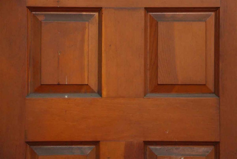 1930s Medium Tone Entry Door With Fan Shaped Glass Panes